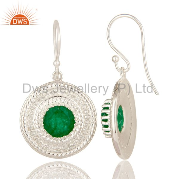 Suppliers 925 Sterling Silver Green Aventurine And White Topaz Disc Dangle Earrings