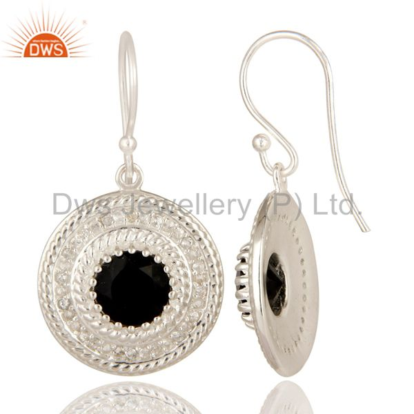 Suppliers 925 Sterling Silver Black Onyx And White Topaz Disc Dangle Earrings For Womens