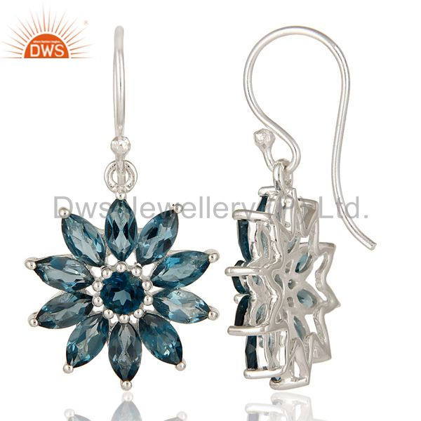 Suppliers 925 Sterling Silver Blue Topaz Marquise Cut Gemstone Cluster Flower Earrings