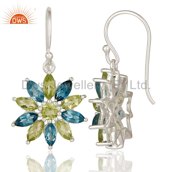 Suppliers 925 Sterling Silver Blue Topaz & Peridot Gemstone Cluster Flower Dangle Earrings