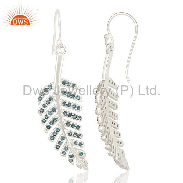Suppliers London Blue Topaz Sterling Silver Leaf Design Dangle Earrings