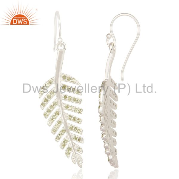 Suppliers Leaf Design Natural Peridot Gemstone Sterling Silver Earrings