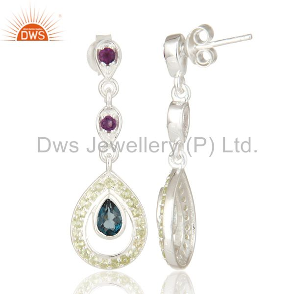 Suppliers Amethyst And Blue Topaz Sterling Silver Dangle Earrings