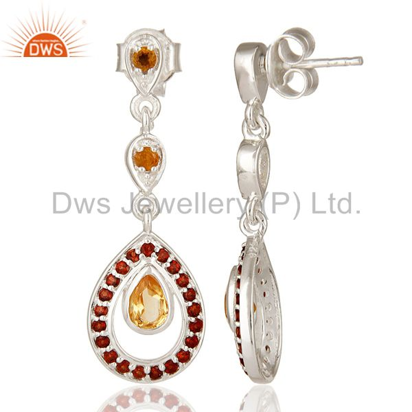 Suppliers Natural Citrine And Garnet Gemstone Dangle Earrings Made In Sterling Silver