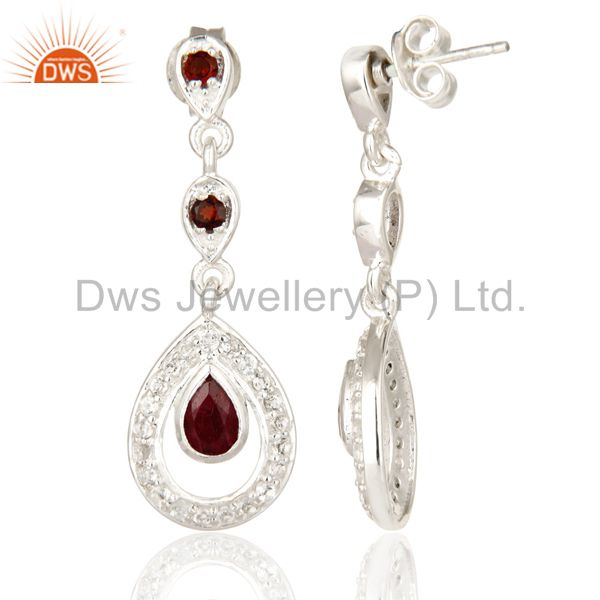 Suppliers 925 Sterling Silver Ruby And Garnet Dangle Earrings With White Topaz