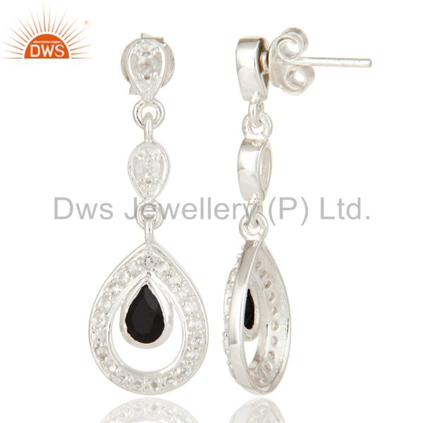 Suppliers Black Onyx And White Topaz Sterling Silver Bridal Fashion Earrings