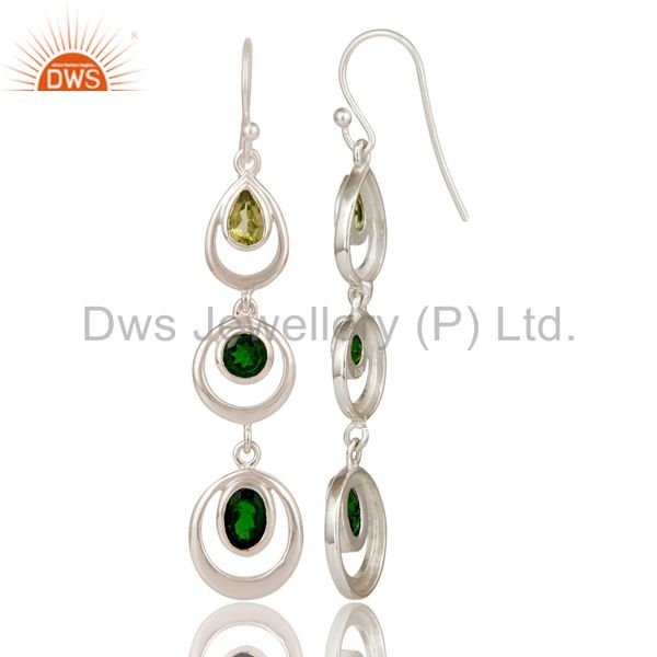 Suppliers Chrome Diopsite and Peridot Sterling Silver Gemstone Dangle Earring