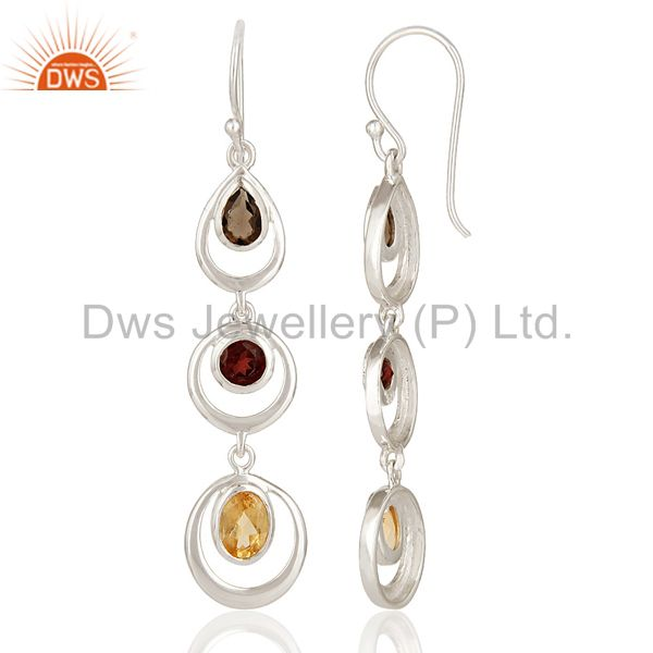 Suppliers Natural Citrine, Garnet And Smoky Quartz Sterling Silver Gemstone Dangle Earring