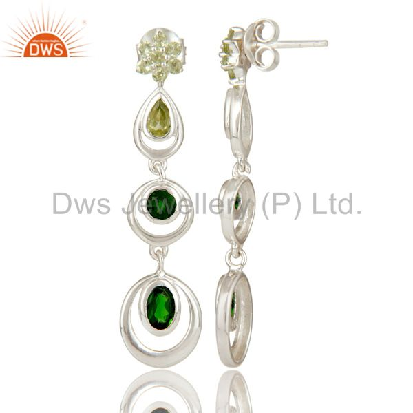 Suppliers 925 Sterling Silver Chrome Diopsite and Peridot Circle Dangle Earrings For Women
