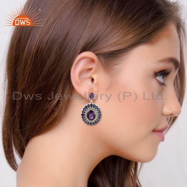 Suppliers Genuine 925 Sterling Silver Amethyst, Peridot And Iolite Gemstone Dangle Earring