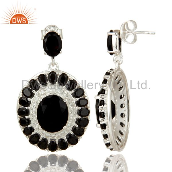 Suppliers 925 Sterling Silver Black Onyx And White Topaz Gemstone Cluster Dangle Earrings