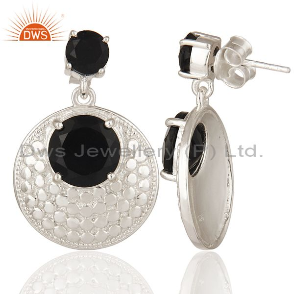 Suppliers Natural Black Onyx Gemstone Prong Set Sterling Silver Disc Dangle Earrings