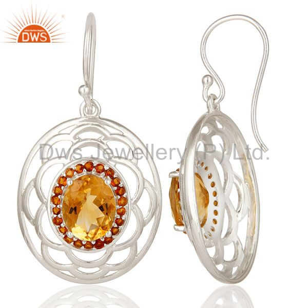 Suppliers 925 Sterling Silver Natural Citrine Gemstone Prong Set Filigree Dangle Earrings