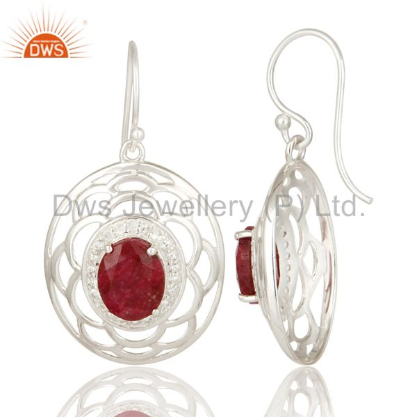 Suppliers 925 Sterling Silver Ruby Corundum Gemstone Earrings With White Topaz
