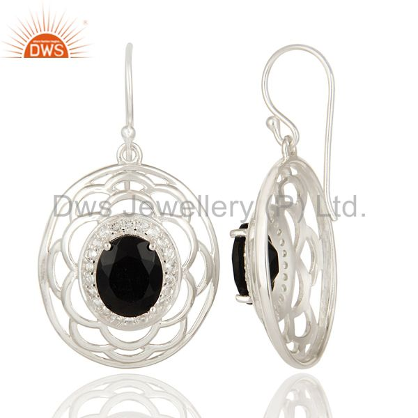 Suppliers Natural White Topaz And Black Onyx Sterling Silver Earrings
