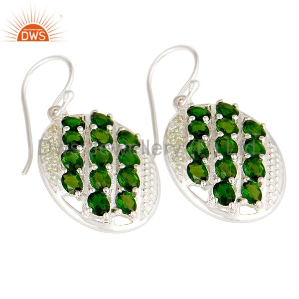 Suppliers Natural Green Peridot And Chrome Diopside 925 Sterling Silver Earrings