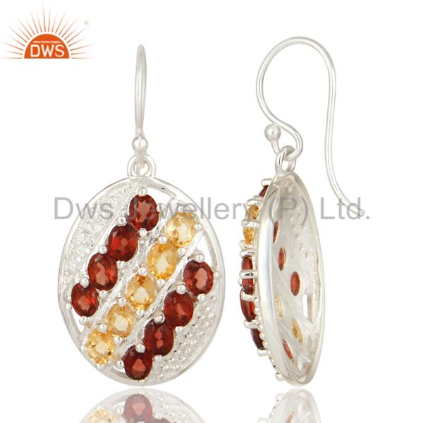 Suppliers 925 Sterling Silver Garnet And Citrine Gemstone Dangle Earrings With White Topaz