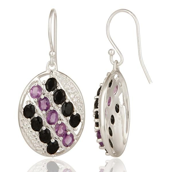 Suppliers Designer Sterling Silver Amethyst, Black Onyx And White Topaz Dangle Earrings