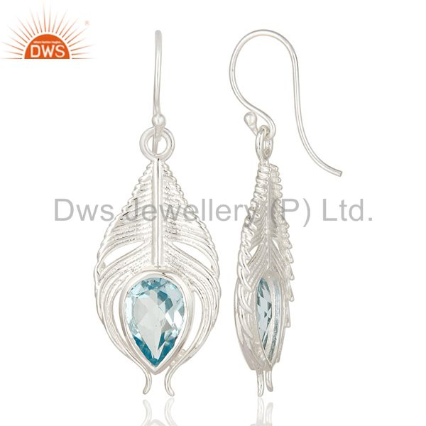 Suppliers 925 Sterling Silver Genuine Blue Topaz Peacock Feather Dangle Earrings
