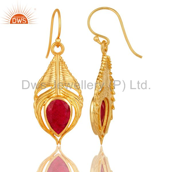 Suppliers 18K Gold Plated Sterling Silver Red Corundum Peacock Feather Dangle Earrings