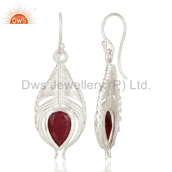 Suppliers 925 Sterling Silver Peacock Feather Dangle Earrings With Red Ruby Corundum