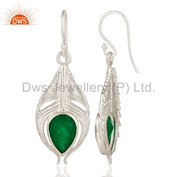 Suppliers 925 Sterling Silver Green Aventurine Gemstone Peacock Feather Dangle Earrings