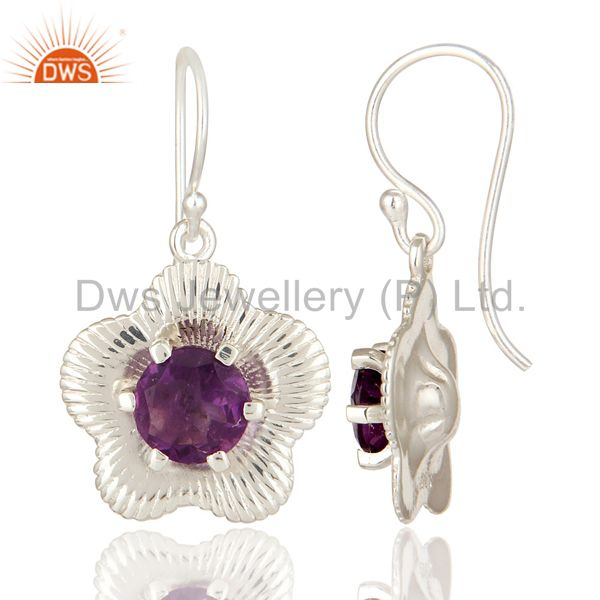 Suppliers 925 Sterling Silver Prong Set Natural Amethyst Gemstone Floral Design Earrings