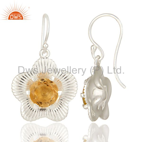 Suppliers Natural Round Cut Citrine Gemstone 925 Sterling Silver Fine Earrings