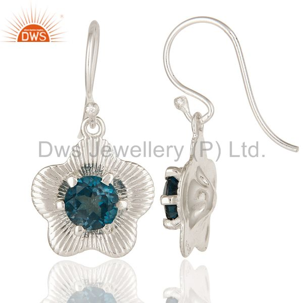 Suppliers High Polish Sterling Silver London Blue Topaz Prong Set Flower Dangle Earrings