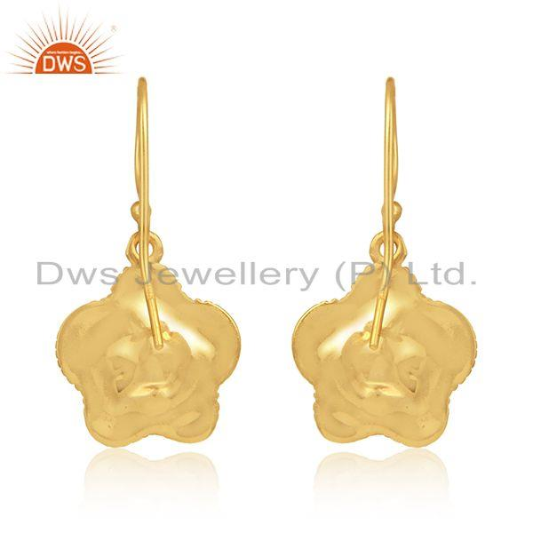 Designer of Flower design gold plated silver natural pearl gemstone earrings