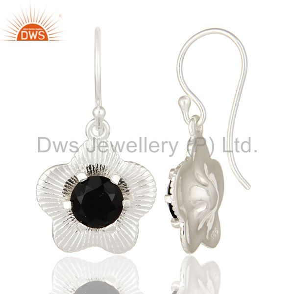 Suppliers Prong Set Natural Black Onyx Gemstone Sterling Silver Fashion Earrings