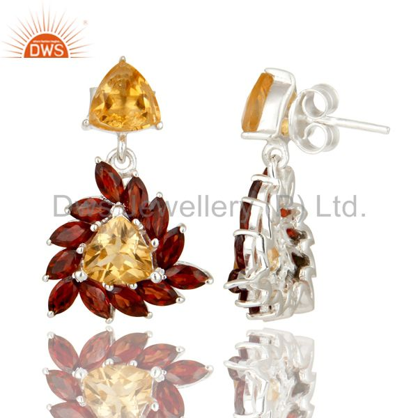 Suppliers 925 Sterling Silver Citrine And Garnet Gemstone Cluster Dangle Earrings
