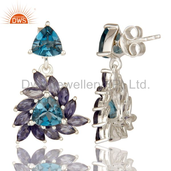 Suppliers 925 Sterling Silver Iolite And London Blue Topaz Gemstone Cluster Dangle Earring