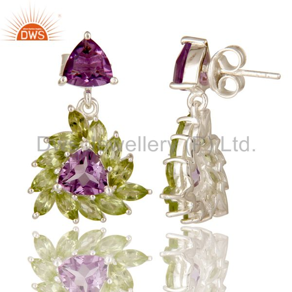 Suppliers 925 Sterling Silver Amethyst And Peridot Gemstone Floral Cluster Dangle Earrings