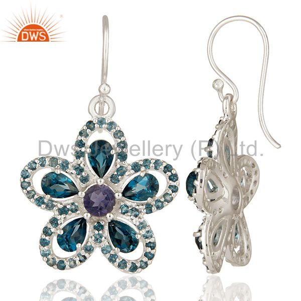 Suppliers London Blue Topaz And Amethyst Flower Dangle Earrings Made In Sterling Silver