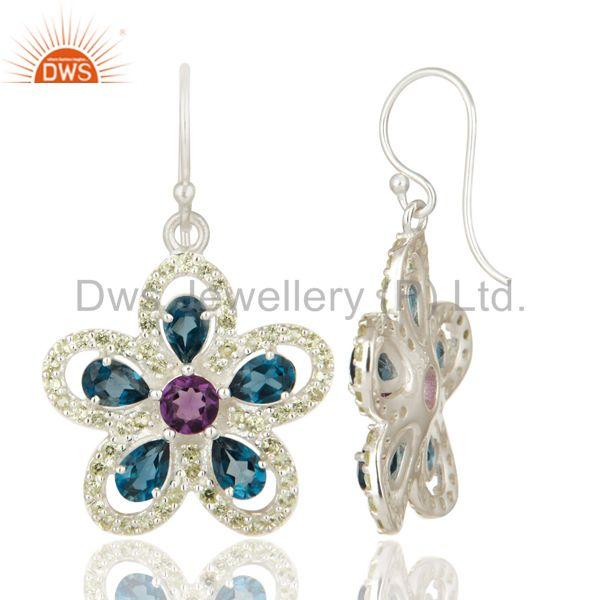 Suppliers Swiss Blue Topaz, Amethyst And Peridot Sterling Silver Flower Dangle Earrings