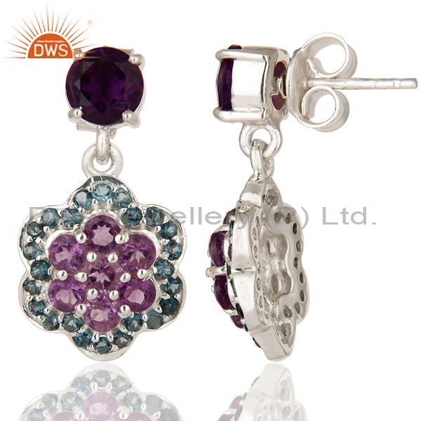 Suppliers Natural Amethyst And London Blue Topaz Sterling Silver Cluster Dangle Earrings