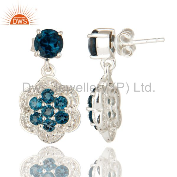 Suppliers Natural London Blue Topaz 925 Sterling Silver Earrings With White Topaz