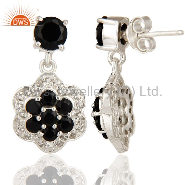 Suppliers Natural Black Onyx And White Topaz Cluster Sterling Silver Dangle Earrings