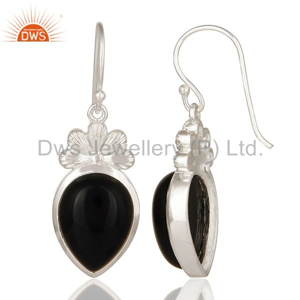 Suppliers Natural Black Onyx Sterling Silver Gemstone Dangle Earrings