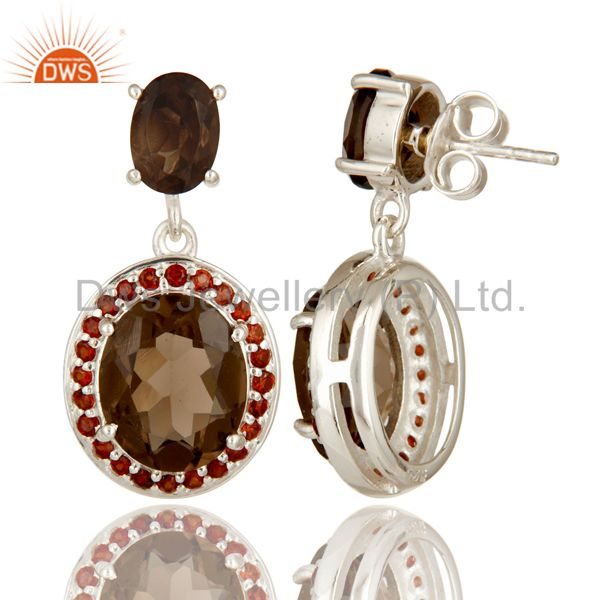Suppliers 925 Sterling Silver Natural Smoky Quartz And Garnet Gemstone Prong Set Earrings