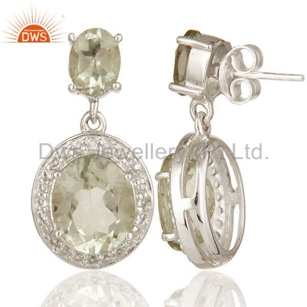 Suppliers 925 Sterling Silver Green Amethyst Gemstone Dangle Earrings With White Topaz