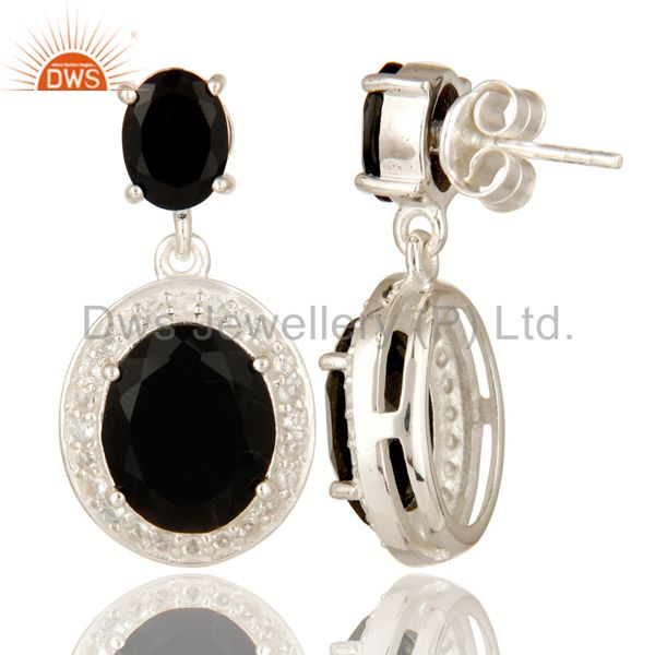 Suppliers Prong Set Black Onyx And White Topaz Dangle Earrings In Sterling Silver