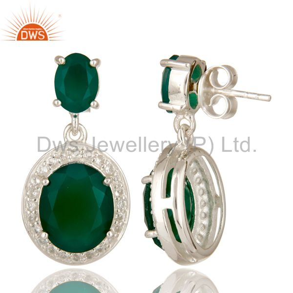 Suppliers 925 Sterling Silver Green Onyx And White Topaz Gemstone Dangle Earrings