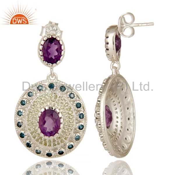 Suppliers Natural Amethyst, Blue Topaz And Peridot Sterling Silver Gemstone Dangle Earring
