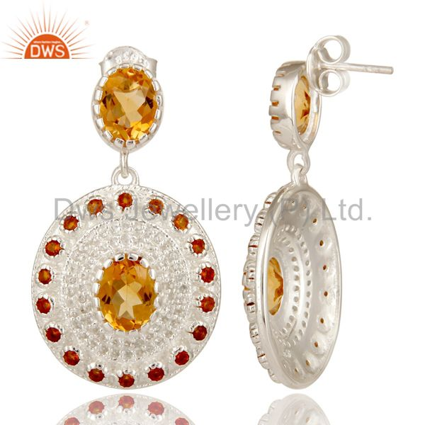 Suppliers 925 Sterling Silver Citrine And White Topaz Womens Wedding Dangle Earrings
