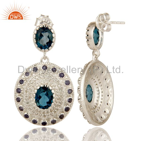 Suppliers Natural Iolite, London Blue Topaz And White Topaz Sterling Silver Dangle Earring