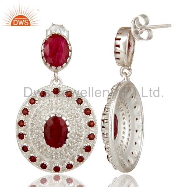 Suppliers 925 Sterling Silver Ruby And Garnet Gemstone Dangle Earrings With White Topaz