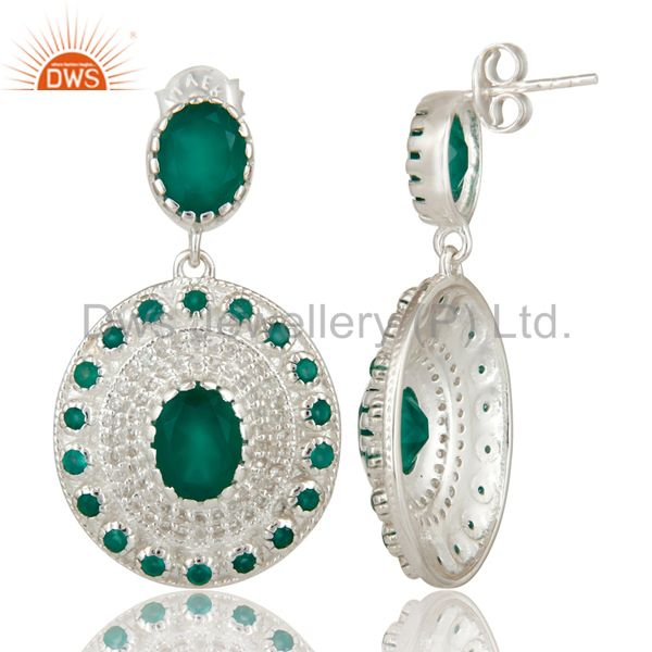 Suppliers 925 Sterling Silver Green Onyx And White Topaz Fine Gemstone Earrings For Her