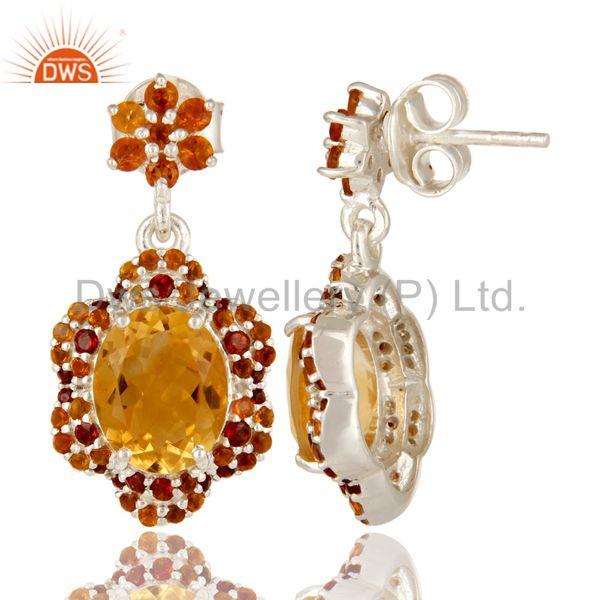 Suppliers 925 Sterling Silver Natural Citrine And Garnet Gemstone Cluster Dangle Earrings